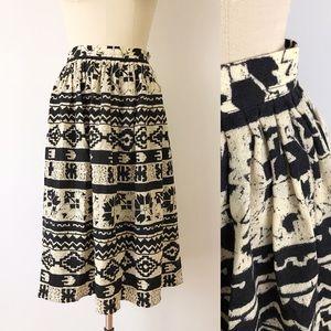 Vintage Southwestern Monochromatic Printed Skirt